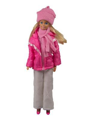 Пуховик, штаны, шапочка и шарфик для куклы 29 см Модница.. Цвет: розовый