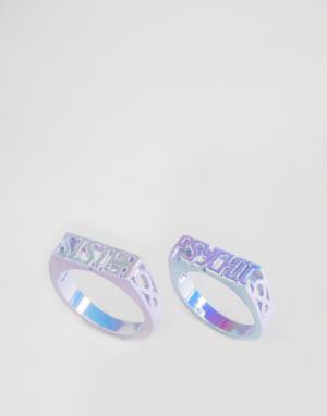 Me & Zena Два кольца с надписью Psychic и Sister. Цвет: фиолетовый