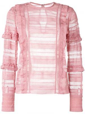 Grid blouse Self-Portrait. Цвет: розовый и фиолетовый