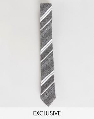 Noak Хлопковый галстук в полоску. Цвет: серый