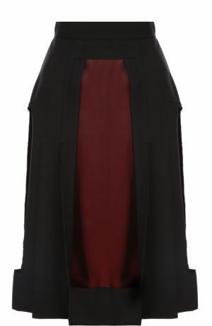 Шерстяная юбка-миди с контрастными вставками Maison Margiela. Цвет: черный