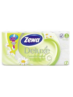 Туалетная бумага Zewa Deluxe Ромашка, 3 слоя, 8 рулонов. Цвет: желтый