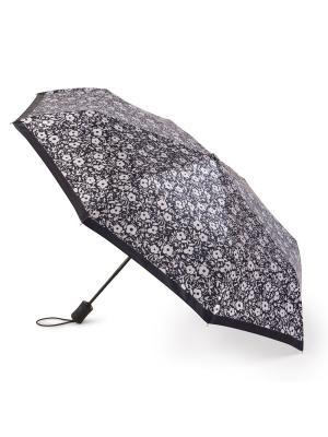 Зонт женский автомат  (Белые цветы) Henry Backer. Цвет: черный