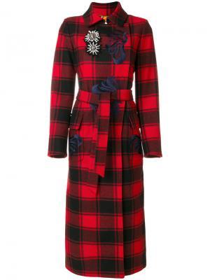 Checked trench coat Bazar Deluxe. Цвет: красный