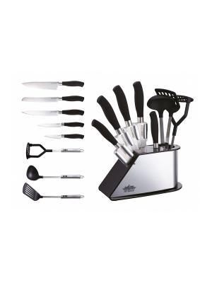 Набор ножей нерж. сталь с лопаткой, половником, картофелемялкой Peterhof. Цвет: серебристый, черный