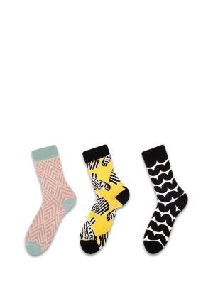 Носки, 3 пары Sammy Icon. Цвет: черный, голубой, розовый, желтый, белый