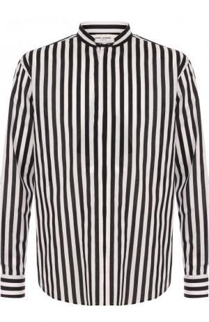 Хлопковая сорочка в контрастную полоску Saint Laurent. Цвет: черно-белый