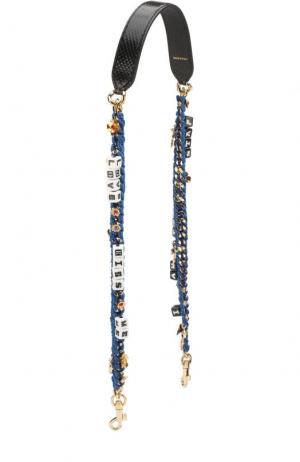 Ремень для сумки на цепочке с аппликациями Dolce & Gabbana. Цвет: черный