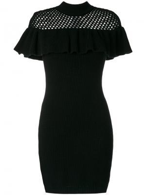 Трикотажное платье в рубчик Self-Portrait. Цвет: чёрный
