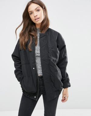 Waven Длинная куртка-пилот Mina. Цвет: черный