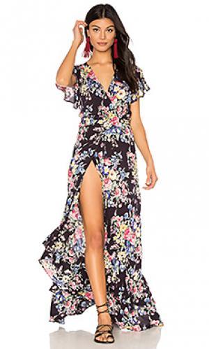 Платье с запахом и оборкой beach house AUGUSTE. Цвет: черный