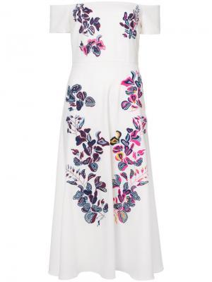 Платье с цветочной вышивкой Lottie Tanya Taylor. Цвет: белый