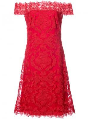 Платье с цветочным кружевом Tadashi Shoji. Цвет: красный