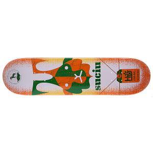 Дека для скейтборда  S5 Suciu Horned Beast 32 x 8.0 (20.3 см) Habitat. Цвет: зеленый,оранжевый,белый