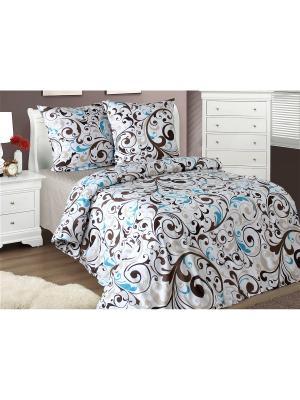 Комплект постельного белья 1,5-спальный Блакiт. Цвет: коричневый, белый, голубой