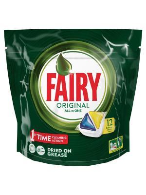 Средство для мытья посуды в капсулах посудомоечных машин Лимон 12шт Fairy. Цвет: зеленый, белый