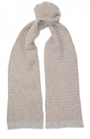 Кашемировый шарф фактурной вязки Johnstons Of Elgin. Цвет: бежевый