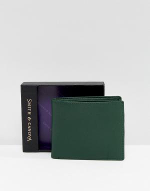 Smith And Canova Зеленый кожаный бумажник. Цвет: зеленый