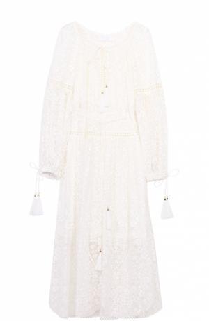 Шелковое кружевное платье-миди с поясом Zimmermann. Цвет: белый