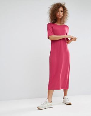Weekday Платье-футболка макси. Цвет: розовый