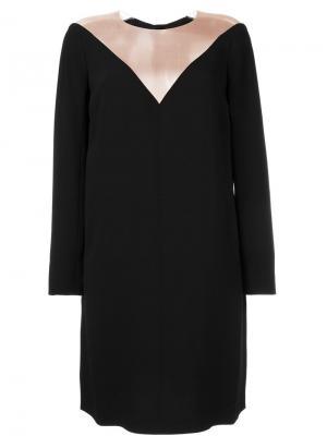 Платье с длинными рукавами и прозрачной панелью Paule Ka. Цвет: чёрный