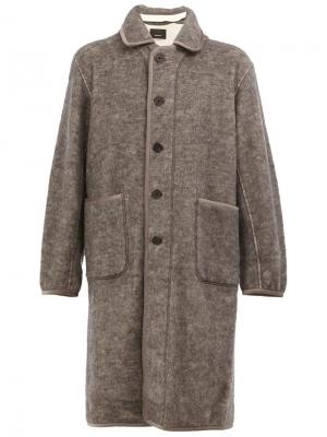 Однобортное пальто 08Sircus. Цвет: серый