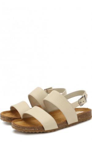 Кожаные сандалии на ремешке Il Gufo. Цвет: бежевый