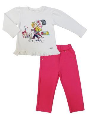 Комплект (кофточка+брюки), Прогулка с Мими Sonia kids. Цвет: белый, розовый