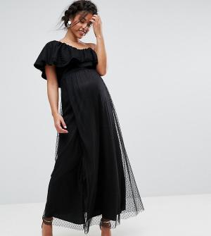 Queen Bee Сетчатое платье макси в горошек на одно плечо. Цвет: черный