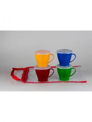 Solaris S1404 набор посуды: 4 чашки 0,36л с крышками. Цвет: синий, желтый, красный