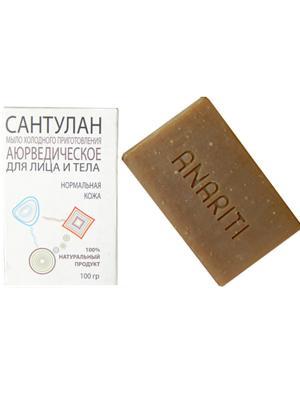 Аюрведическое мыло холодного приготовления для лица и тела Сантулан  нормальной кожи ANARITI. Цвет: бежевый
