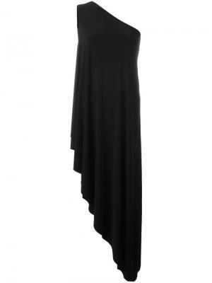 Асимметричное платье на одно плечо Norma Kamali. Цвет: чёрный