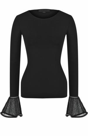 Приталенный пуловер с декорированными рукавами Alexander Wang. Цвет: черный