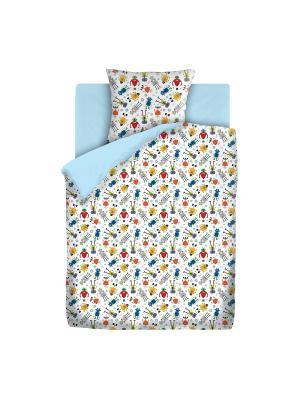 Комплект постельно белья 1,5 бязь  Роботы Непоседа. Цвет: голубой