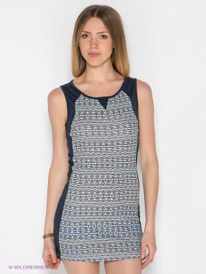 Платье PRINTED DRESS MAVI. Цвет: синий, белый, черный