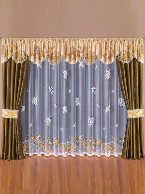 Комплект штор Wisan. Цвет: белый, оливковый