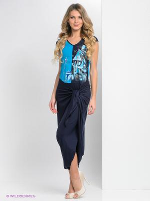 Платье Наталья Новикова. Цвет: синий, белый, темно-синий