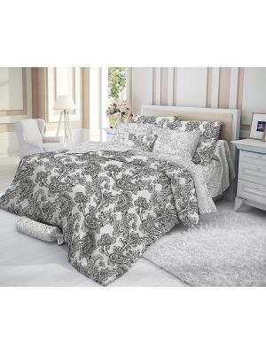 Комплект постельного белья, GRACE Verossa. Цвет: серый, белый