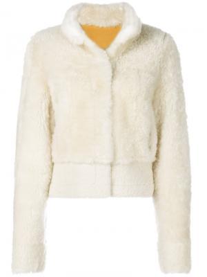 Куртка-бомбер с отделкой из овчины Liska. Цвет: белый