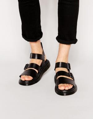 Dr Martens Черные сандалии с ремешками. Цвет: черный