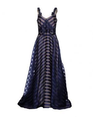 Длинное платье MARCHESA NOTTE. Цвет: темно-синий