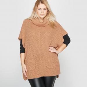 Пуловер-пончо квадратного покроя CASTALUNA. Цвет: серый меланж,экрю меланж