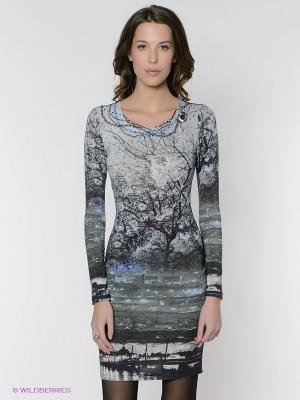 Платье FRENCH HINT. Цвет: серо-зеленый, черный