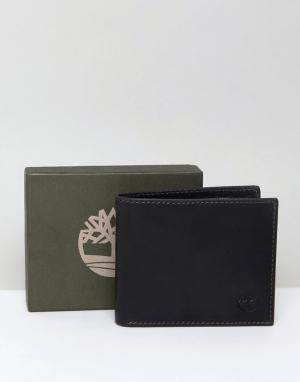 Timberland Черный кожаный бумажник с кармашком для монет Grafton. Цвет: черный