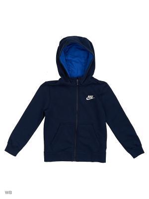 Толстовка B NSW HOODIE FZ CLUB Nike. Цвет: темно-синий