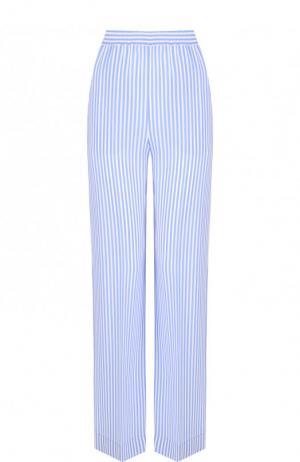 Шелковые брюки прямого кроя в полоску Michael Kors Collection. Цвет: голубой
