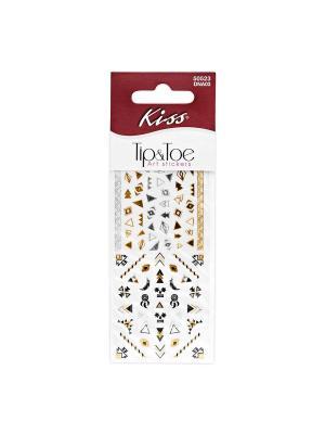 Набор стикеров для ногтей Nail Art Stickers Pink DNA03 Kiss. Цвет: белый