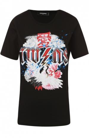 Хлопковая футболка прямого кроя с контрастным принтом Dsquared2. Цвет: черный