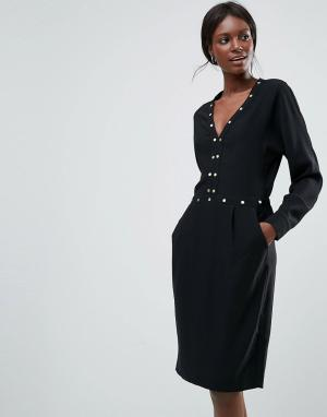 Y.A.S Платье с длинными рукавами и отделкой. Цвет: черный