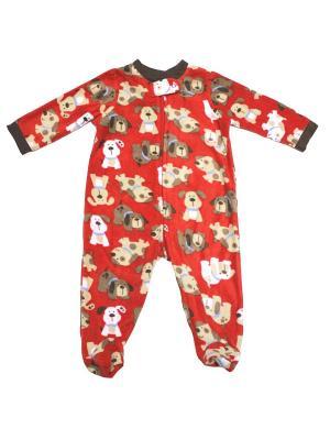 Комбинезон для сна флисовый Собачки Little Me. Цвет: красный